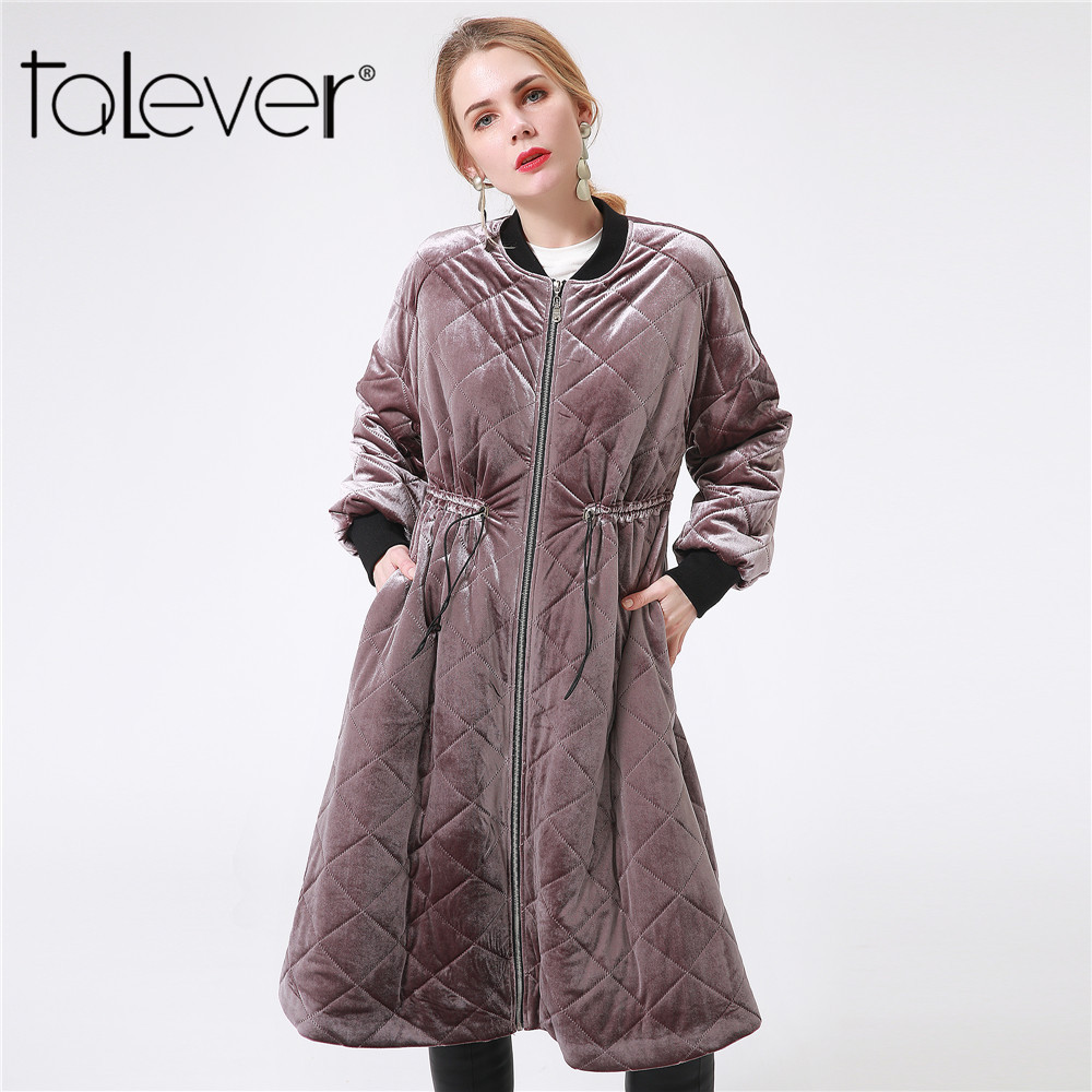 Talever 2017 Winter Jacket Women Fashion Plus Size Cotton Velvet Long Parka Elegent Coats and Jackets Warm Casual Outerwear