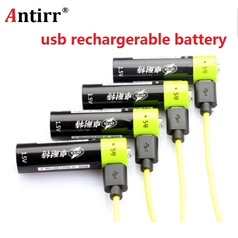 ZNTER <font><b>AA</b></font> <font><b>Rechargeable</b></font> <font><b>Battery</b></font> <font><b>1.5V</b></font> 2A 1250mAh USB Charging <font><b>Lithium</b></font> <font><b>Battery</b></font> Bateria with Micro USB Cable image