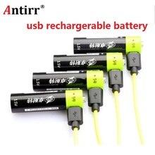 Znter aa 충전식 배터리 1.5 v 2a 1250 mah usb 충전 리튬 배터리 bateria 마이크로 usb 케이블