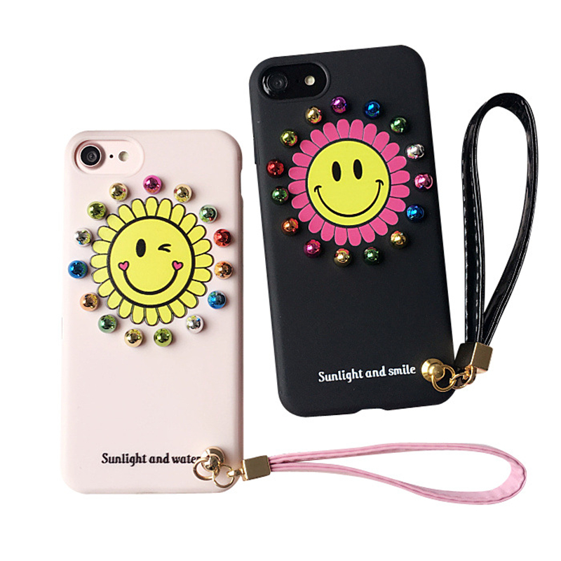Korea Cartoon Phone Case for Apple iPhone 6 6s 7 Plus Round Rivet Smiley Face Sunflower Silicone Covers Fundas With Wrist Strap
