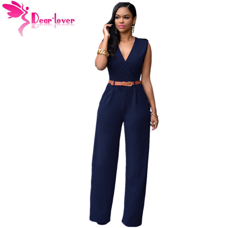 Jumpsuit   Long Pants Overalls Dear Lover 2018 Women's Fashion Red V Neck Belt Embellished Elegant Playsuit Lady Work Wear LC64003
