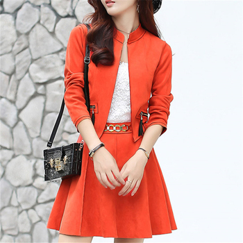 Two Piece Set Women Blazer And Skirt Suit 2018 Autumn Winter Korean Style Fashion Elegant Ofiice Ladies Suede Skirts Suits 2PCS roupas da moda masculina 2019