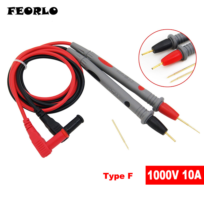FEORLO 1000V 20A Needle Point Multi Meter Test Probe Lead For Digital Multimeter For Tester Such Fluke Free Shipping