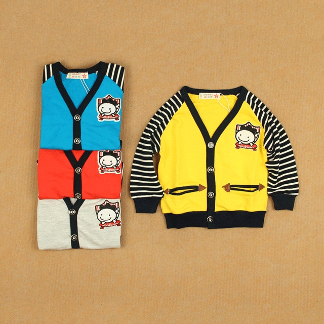 Infant baby boy spring casual button cardigan male female child small children's clothing pure cotton-padded coat sweatshirt