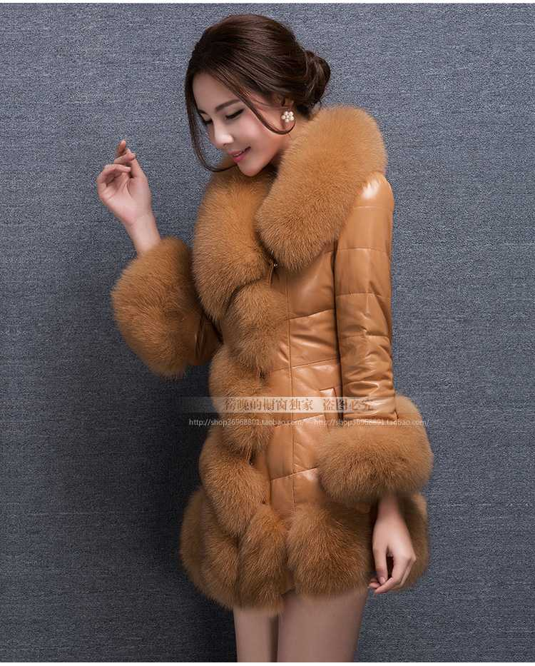 Winter Jacket Women 2015 White Duck Cotton Coat Parkas Pu Leather Fur Collar Long Slim Fur Coat Thick Overcoat H5023
