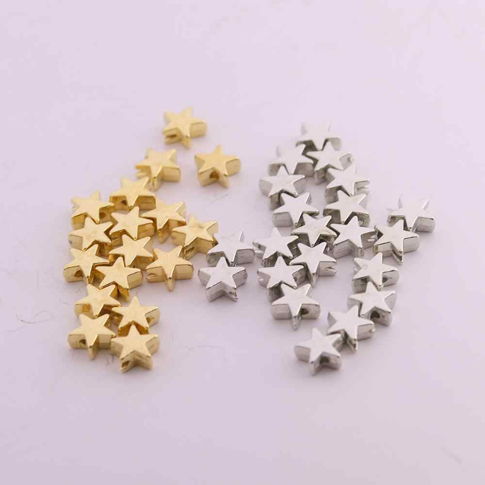 200pcs/lot 6*6mm Inside Hole 1mm CCB Gold Silver Color Star Spacer Beads End Caps Beads DIY Jewelry Making Findings Charm Beads