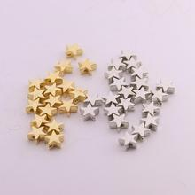 цена на 200pcs/lot 6*6mm Inside Hole 1mm CCB Gold Silver Color Star Spacer Beads End Caps Beads DIY Jewelry Making Findings Charm Beads