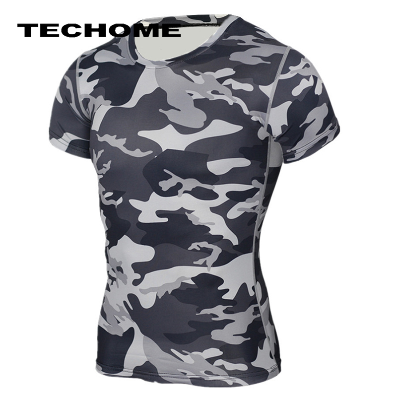 Mens Compression Base Layer Tops T-shirt Fitness Muscle Quick Dry Slim Tee Camo