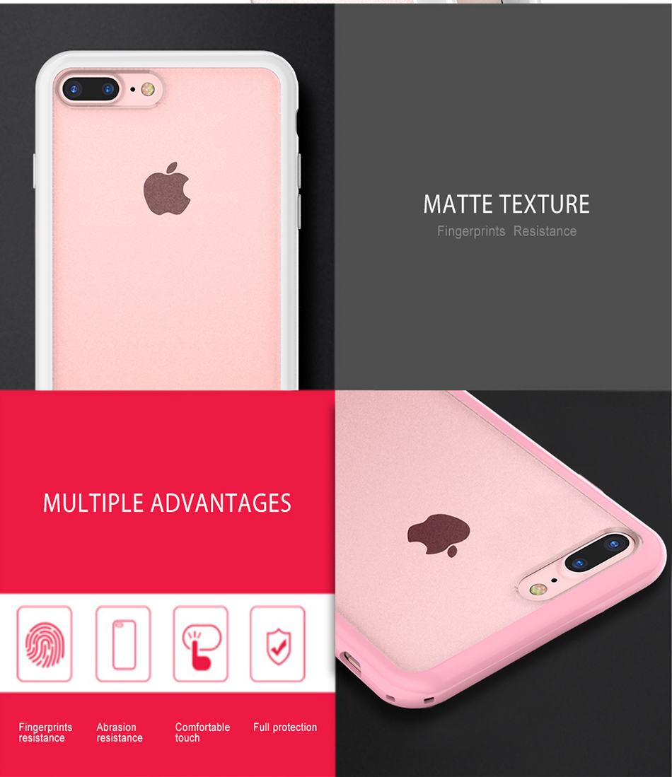 MR.YI Candy Color Frame Phone Case For iPhone 7 For iPhone 7 Plus Colorful Matte Clear Transparent Cover Case For iPhone 7 Plus (8)