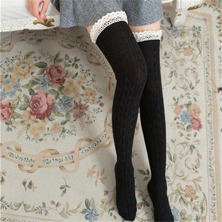Women Over The Knee Long Lace Thigh High Stocking Knee Stockings Korean Style Casual Str ...