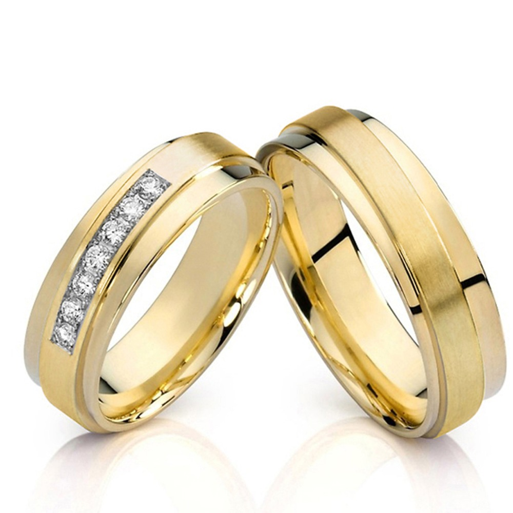 his and hers gold color alliance promise wedding band