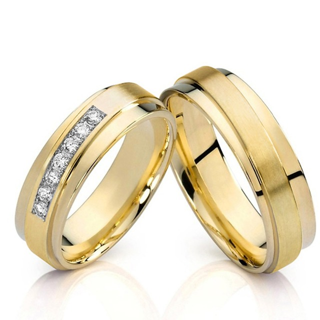 Unusual wedding bands for him and her Gold Color Bridal jewelry Mens Anniversary Couple Engagement Rings For Women