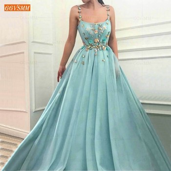Elegant Tulle Ice Blue Prom Dresses Long 2019 Illusion Sleeveless Slim Fit Formal Dress Prom Spaghetti Strap Evening Party Gowns