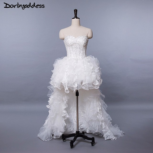Detachable Trains Knee High: Luxury Wedding Gown 2018 High Low Wedding Dresses Lace