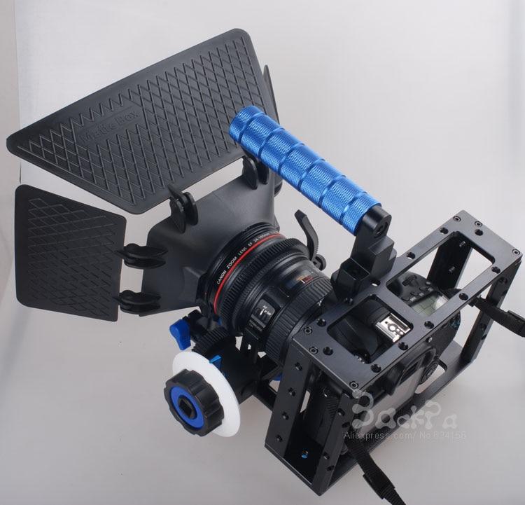 DSLR Rig Camera Cage set + 15mm Aluminum Rod Block Plate + Follow Focus + Matte Box for 5D Mark II III 6D 7D 60D 70D 5DII 5DIII