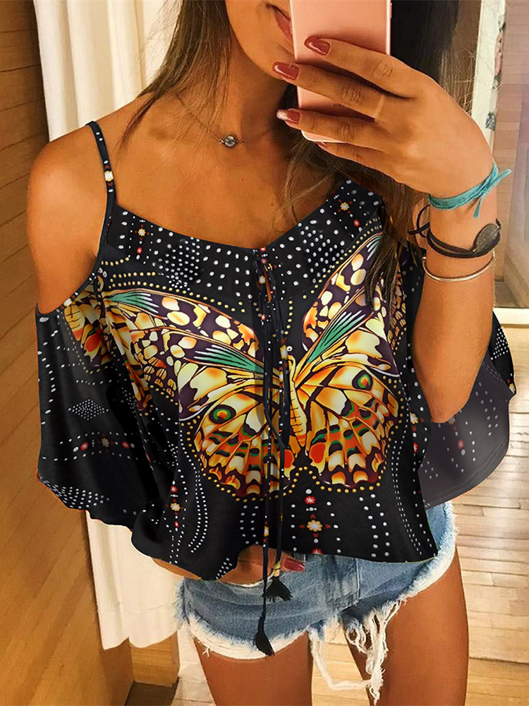 2019 Summer Women Vacation Holiday Leisure Floral Sexy Top Female Stylish Basic Shirt Cold Shoulder Butterfly Print Blouse