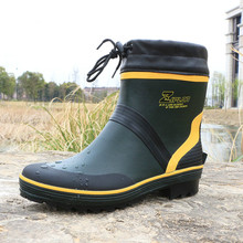High Quality Fishing Rubber Outdoor Waterproof  Boots Fashion Brand Flat Anti-slip Plus Size 46 Rain Boots for Man