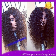 Hot! Virgin Human Hair Deep Curly Full Lace Wig Glueless Brazilian Front Lace Wigs With Side/Middle Part For African Americans