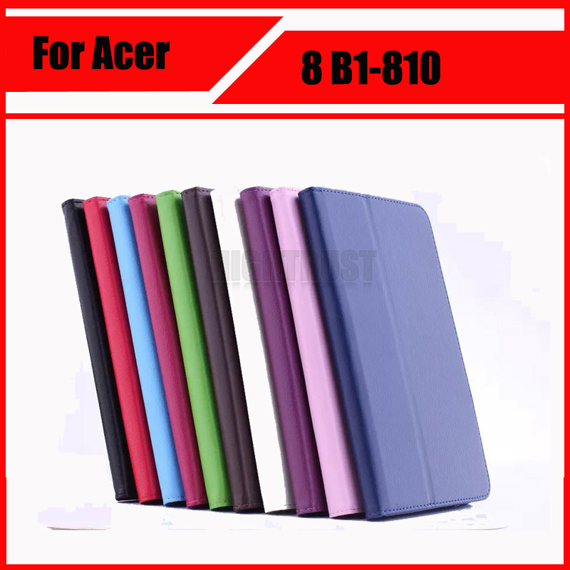 3 in 1 Ultra Slim Litchi Stand PU Leather Tablet Skin Cover Case For Acer Iconia One 8 B1-810 B1 810 + Stylus + Screen Film цена и фото