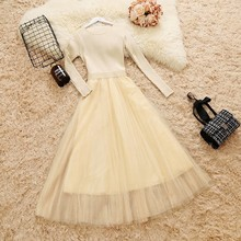 Women Knit Mesh Long Sleeve Elegant Dress