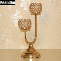 PEANDIM New Sparkling K9 Crystal Candlestick Christmas Metal Golden Candle Holders Table Centerpieces For Wedding Decor Ideas