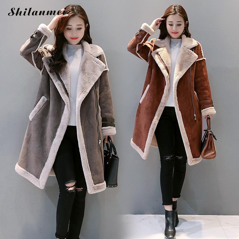 2018 Winter Women Faux Lambs Wool Patchwork Outerwear Female Long Thick Fleece Shearling Coats Zipper Faux   Suede     Leather   Jackets