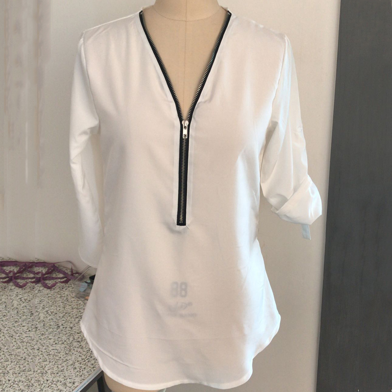 2018 Sexy Spring Women Chiffon Blouse Adjustable Long Sleeve V-Neck Female Zipper Shirts Ladies Casual Tops Blusas