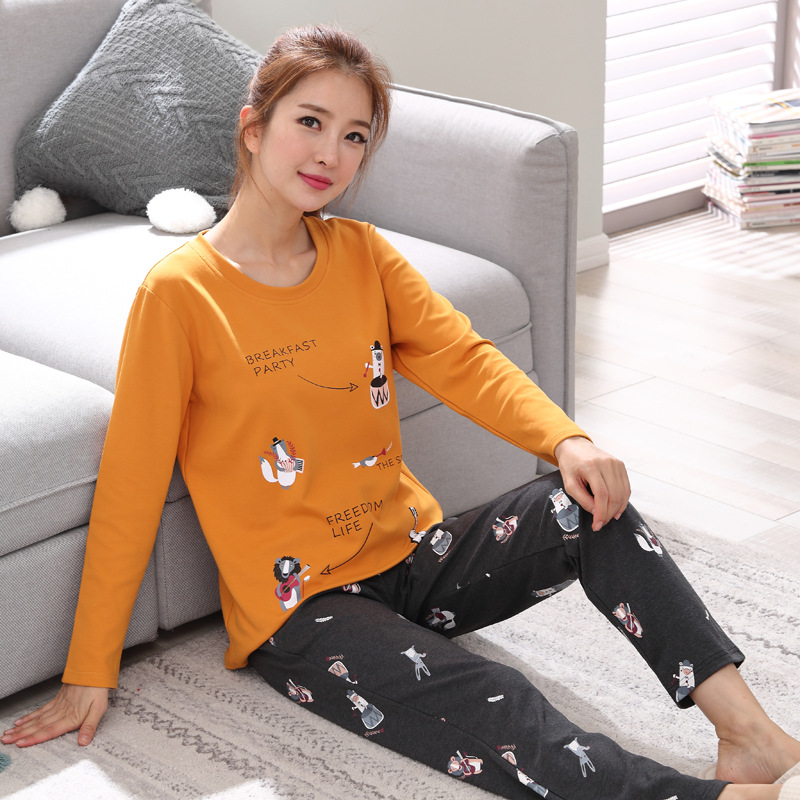2019 Women Pajamas Sets Autumn Winter New Women Pyjamas Cotton Clothing Long Tops Set Female Pyjamas Sets NightSuit Mother Sleep 100