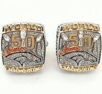 Factory Direct Sale 2 Piece 2015 Denver Broncos Super Bowl Replica World Championship Rings