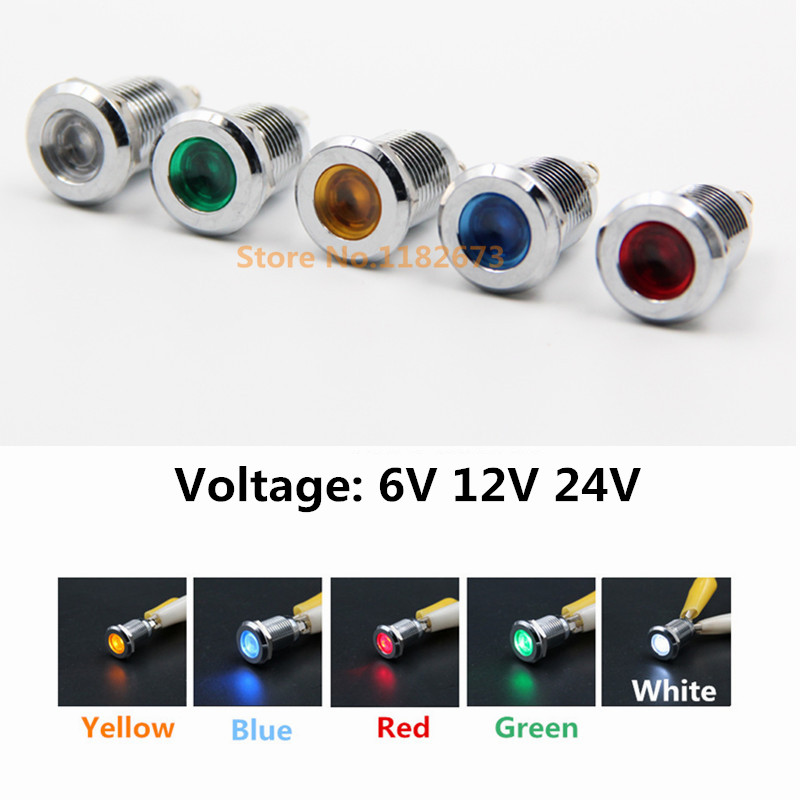 50PCS 12mm signal light pilot lamp signal light Voltage 6V 12V 24V metal LED indicator light car light FREE SHIPPING