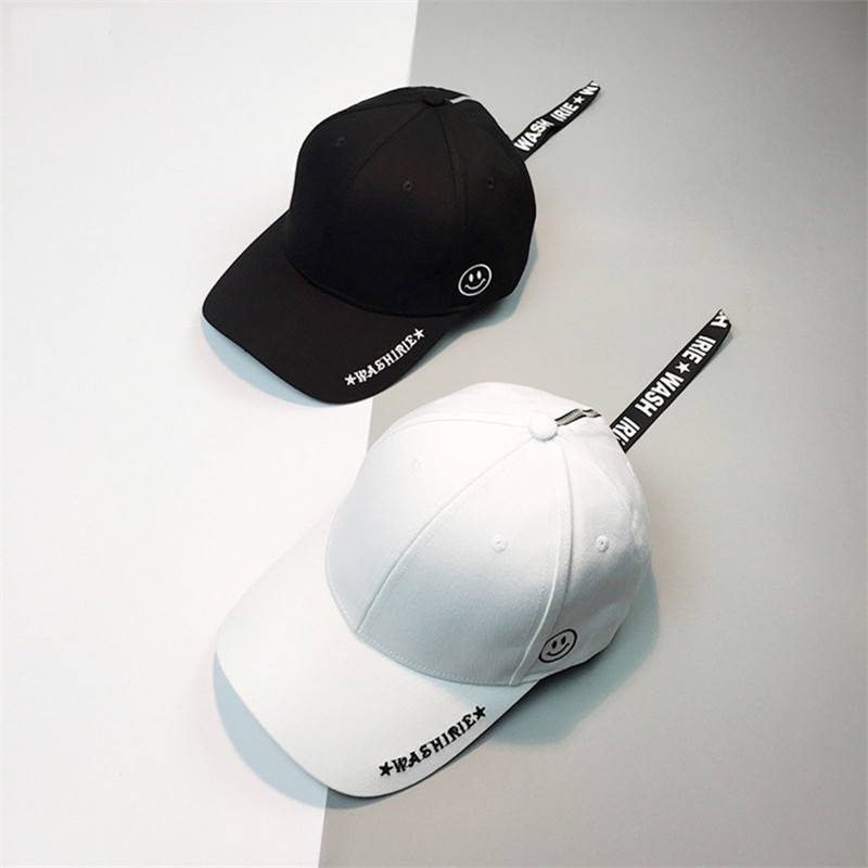 Korean Women Long belt Snapback   Caps   Retro hat Men's Personality Metal Ring Letter Smile Face Embroidery   Baseball     Cap   Casquette