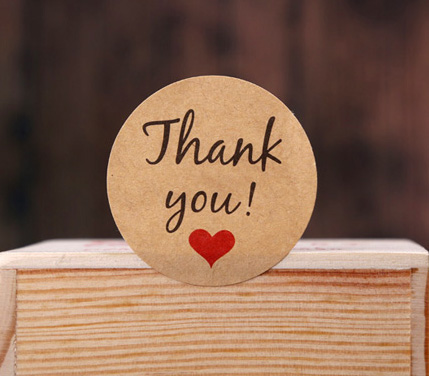100pcs/lot Thank you with heart series paper seal sticker Kawaii adhesive stickers for homemade bakery&gift packaging (ss-a659)