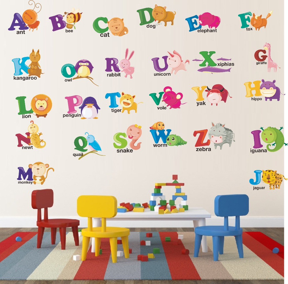 Various Cartoon Animals ABC Alphabet Wall Stickers Color