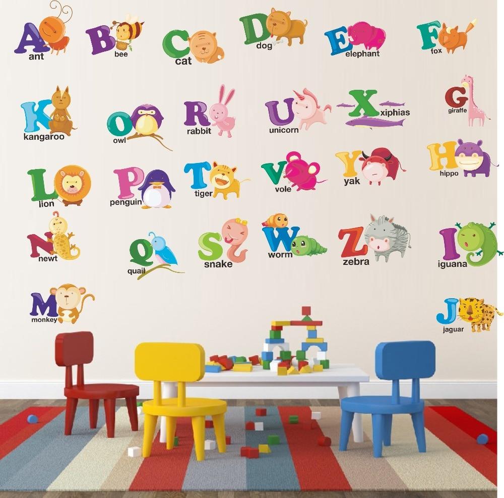 Various Cartoon Animals Abc Alphabet