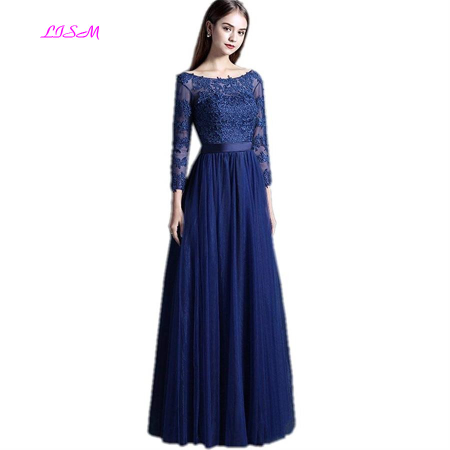 Real Photos Scoop A Line Three Quarter Sleeves Appliques Long Tulle Prom Party Dresses Elegant Empire