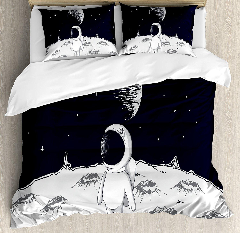Постельное белье, Симпатичные астронавт ходить на Луны и космоса звезды дети C Книги по искусству Ун рисованной Книги по искусству, 4 шт. Пост