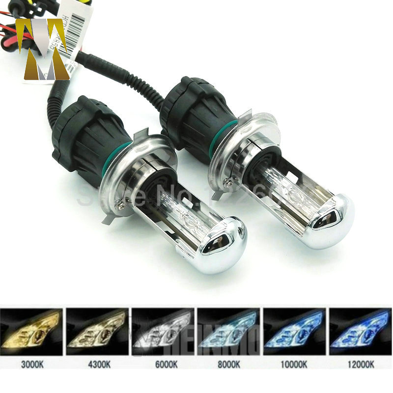 1Pair Bi Xenon 35W H4 Hi Low Beam 12V AC HID Automotive Headlight Replacement Bulb H4-3 BiXenon Hi/Lo Beam Lamp 4300k/6000/8000K