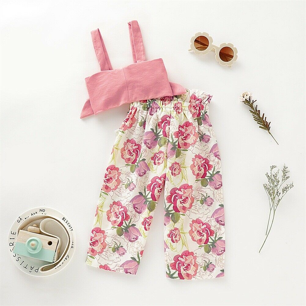Sweet Toddler Baby Girls Clothes Bow Sling Tops Flower Skirt 2PCS Outfits Summer