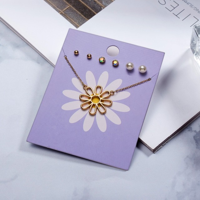 Cute Flower Pendant + 3 Stud Earrings