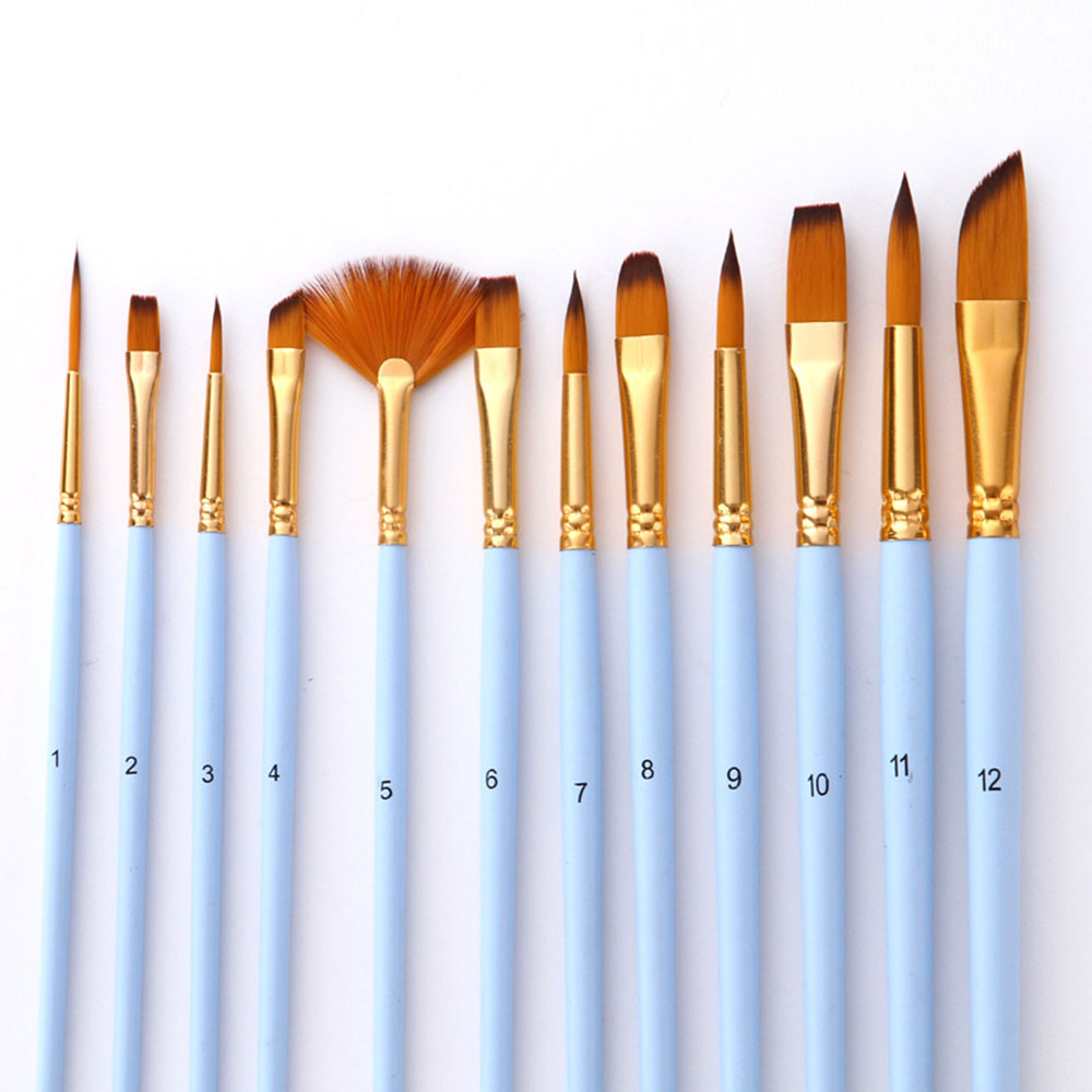 12Pcs/Set Acrylic Oil Watercolor Painting Supplies Artist Nylon Hair Paint Brush Set Art Supplies