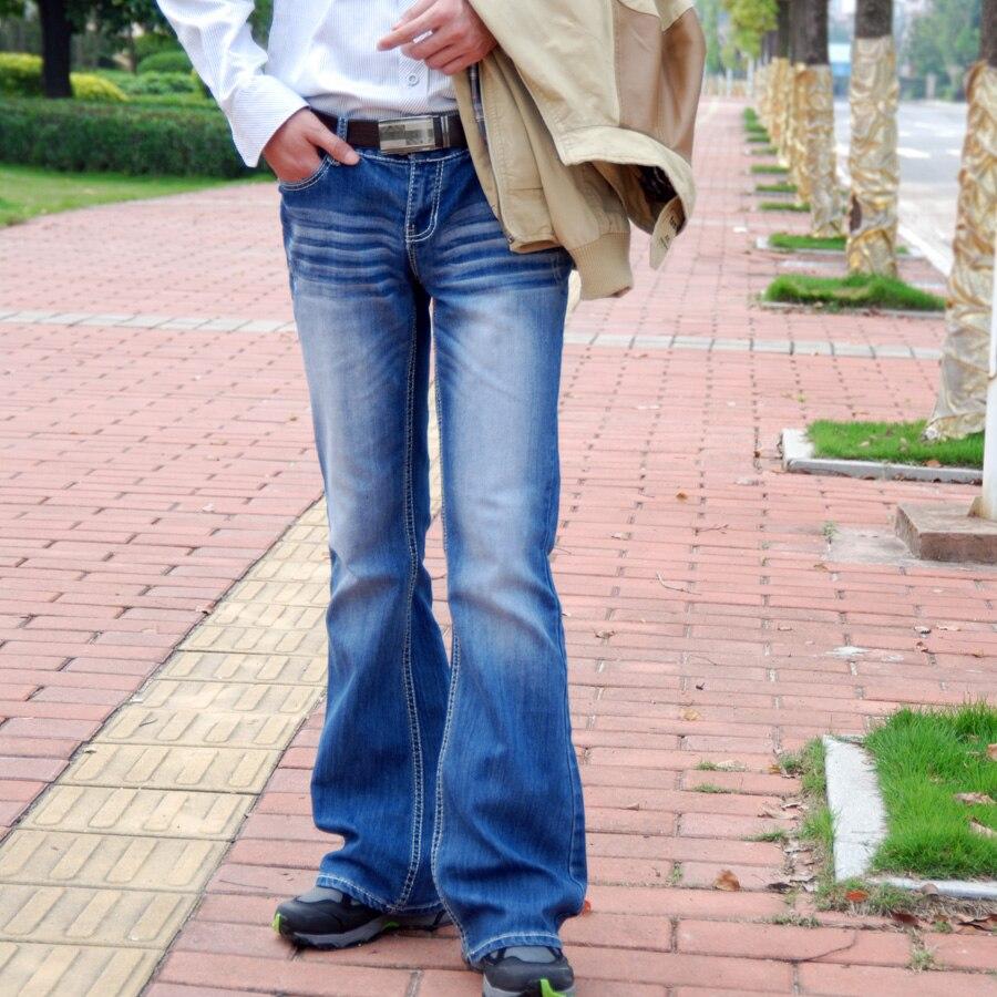 f71c8ad5bac Plus Size Longer Classic Sexy Big Boot Cut Men Straight Jeans slim elastic  Men Flare Pants Jean Korean Style Fashion