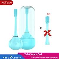 Três lados miúdo sonic escova de dentes elétrica 2-10 anos de idade usb recarregável substituição 360 graus crianças escova de dentes elétrica