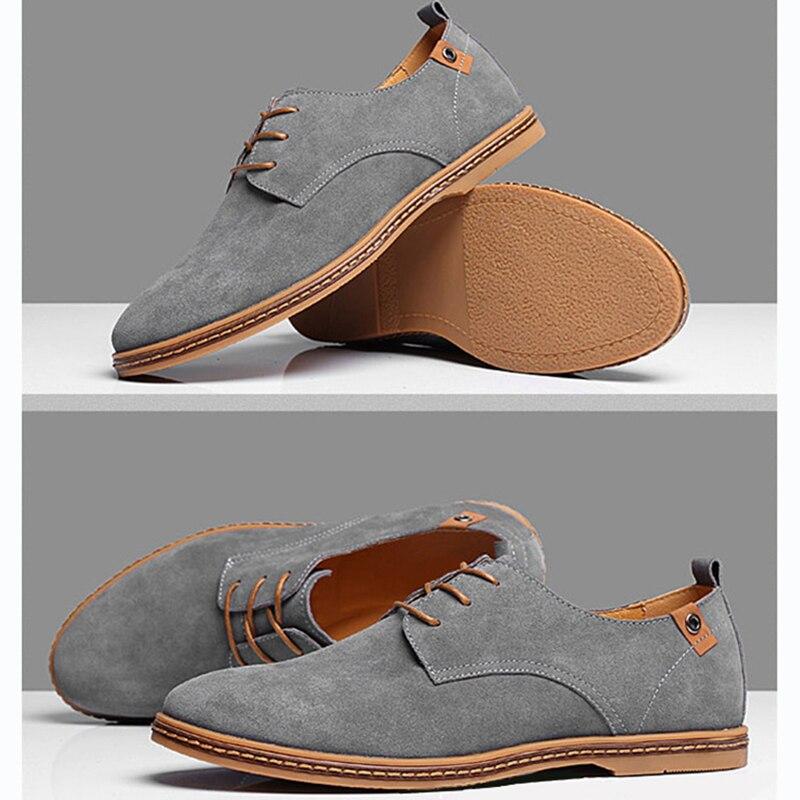Vishlist Men Shoes Suede Leather Casual Flat Shoes Lace Up Men 39 S Flats For Man Rubber Outsole