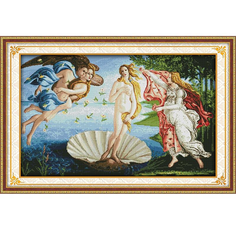 Joy Sunday The Birth of Venus Decor Painting Counted Print on Canvas 11CT14CT Chinese Cross Stitch Kit Embroidery Needlework Set