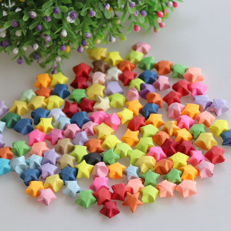 Free Shipping(500 Pcs/package)28 Candy Colors Lucky Finished Star DIY Paper Decoration Wishing Bottle Gift A Birthday Present