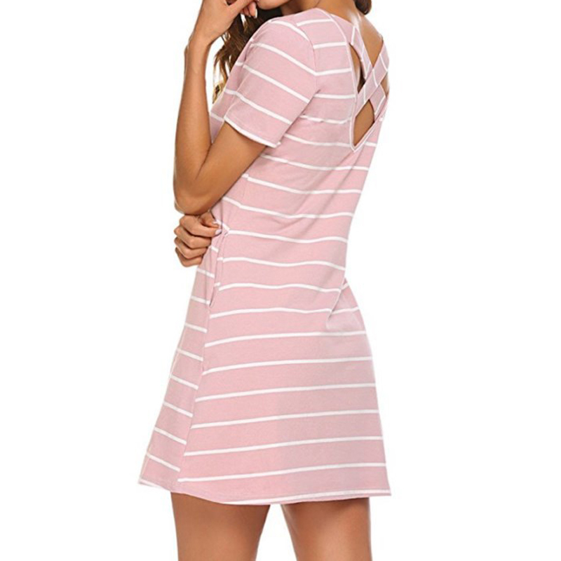 Slim Femme Summer Mini Dress New Women Striped Short Sleeved Casual Sundress Plus Size Pockets Striped Dresses Autumn GV527
