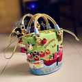 2017 Women's Spring Fresh Handmade Embroidery Handbags Three Dimensional Color Block Bucket Bag Middle Cross Body Shoulder Bags