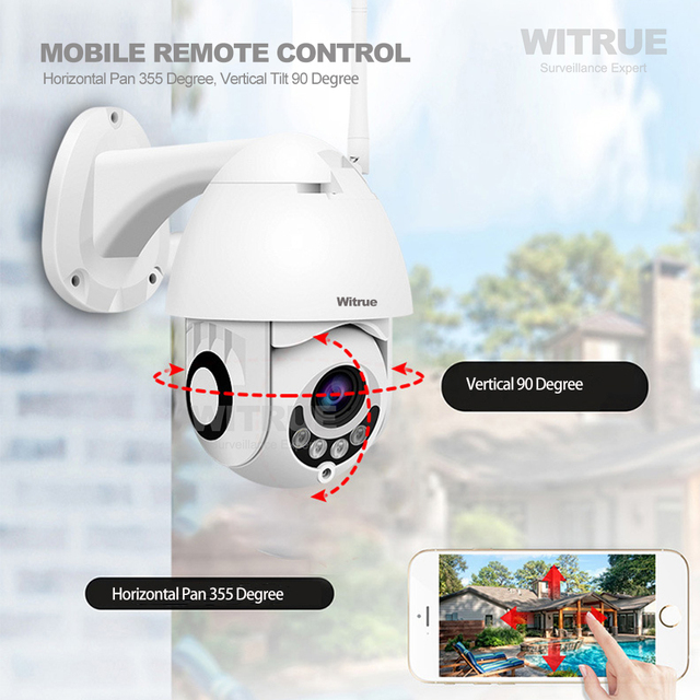 PTZ IP Camera 1080P WiFi Wireless Outdoor Waterproof Two Way Audio 64G TF Card Recording Mobile View Surveillance CCTV Camera