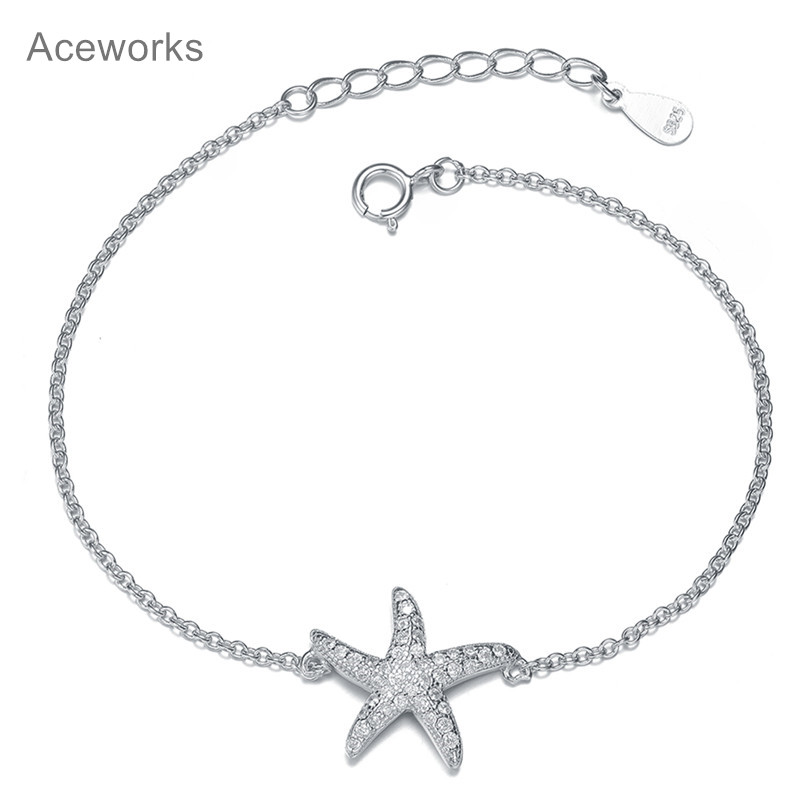 Aceworks Silver Starfish Charm Bracelet Real S925 Sterling Bracelets Women Jewelry Ocean Animal Series Accessories In Chain Link From