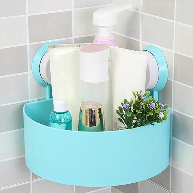 Plástico ventosa baño cocina Esquina de almacenamiento de rack ...
